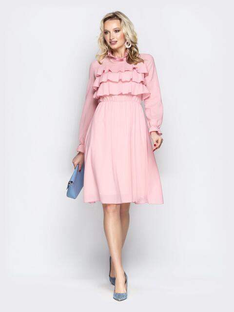 Розовое платье с воланами по верху и юбкой-клёш - 20847, фото 1 – интернет-магазин Dressa
