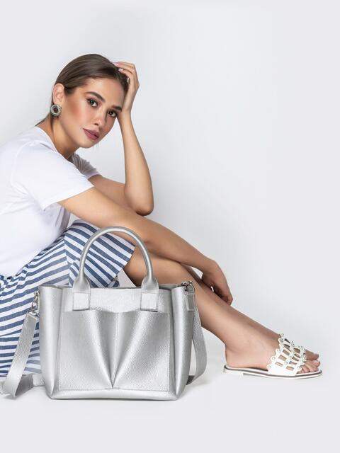 Серебристая сумка-тоут с двумя внешними карманами - 20576, фото 1 – интернет-магазин Dressa