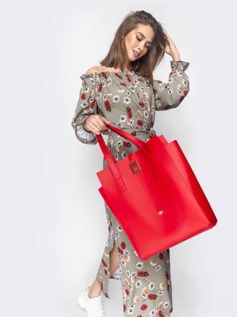 Сумка-тоут красного цвета из эко-кожи - 20575, фото 1 – интернет-магазин Dressa