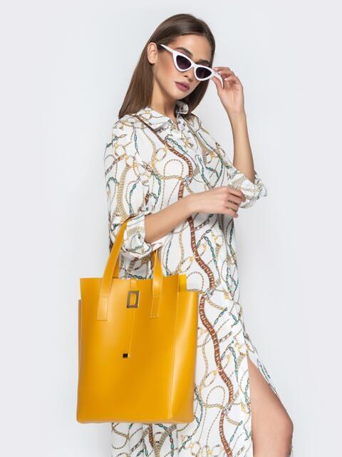 Сумка-тоут желтого цвета из эко-кожи - 20574, фото 1 – интернет-магазин Dressa