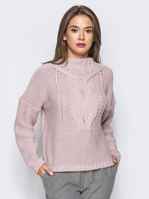 Свитер с объемными рукавами со спущенным плечом розовый - 12972, фото 1 – интернет-магазин Dressa