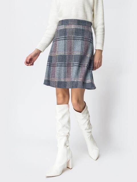 Трикотажная юбка-трапеция с напылением голубая 44089, фото 1