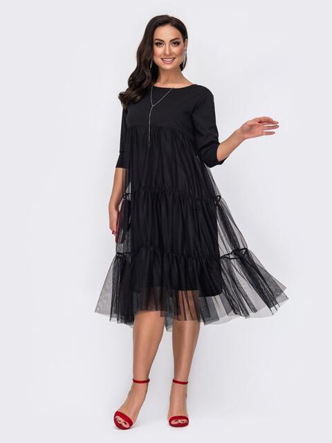Трикотажное платье батал с фатиновой юбкой черное 52118, фото 1