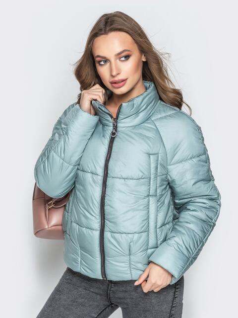 Укороченная куртка с воротником-стойкой и карманами голубая 20305, фото 1