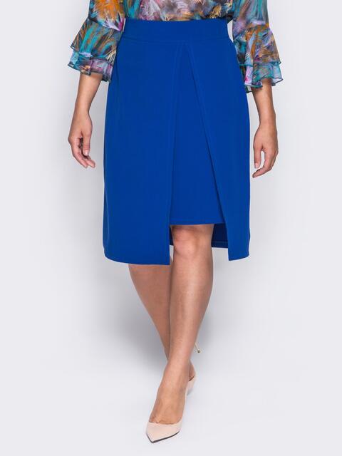 Юбка прямого кроя с имитацией короткой юбки синяя - 14361, фото 1 – интернет-магазин Dressa