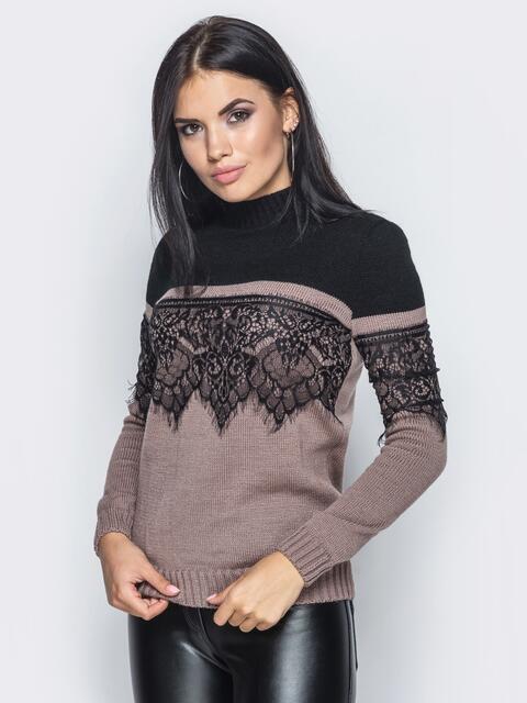 Бежево-черный свитер с кружевом на полочке и на рукавах - 15987, фото 1 – интернет-магазин Dressa