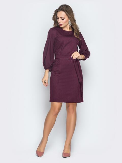Бордовое платье со складками на рукаве - 18598, фото 1 – интернет-магазин Dressa