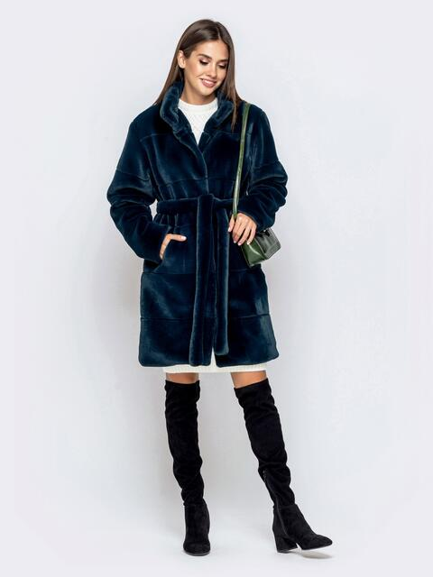 Искусственная шуба синего цвета с воротником-стойкой - 40180, фото 1 – интернет-магазин Dressa