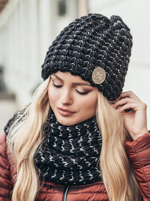 Комплект из шапки и снуда с контрастной нитью черный - 15541, фото 2 – интернет-магазин Dressa