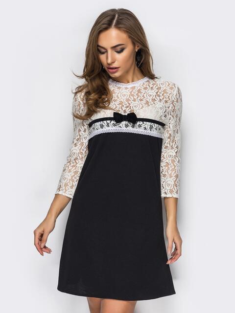 Милое платье-трапеция с гипюровой кокеткой и рукавами черное - 10960, фото 1 – интернет-магазин Dressa