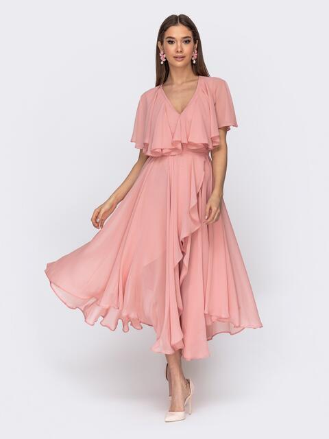 Платье из шифона с запахом и широкими воланами розовое - 44750, фото 1 – интернет-магазин Dressa