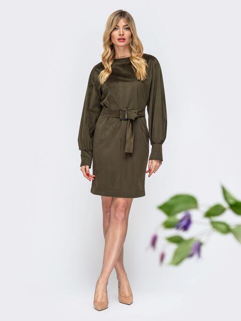 Платье с объемными рукавами цвета хаки - 44903, фото 1 – интернет-магазин Dressa