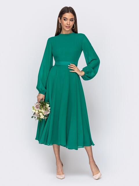 Платье с открытой спиной и юбкой-солнце зеленое - 44748, фото 1 – интернет-магазин Dressa