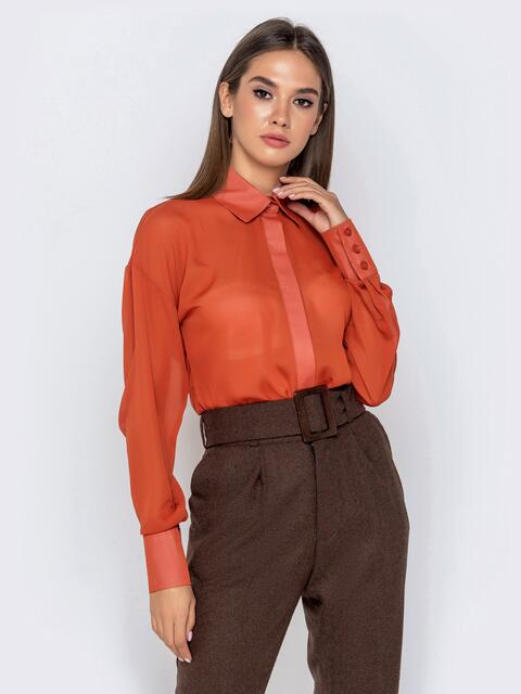 Шифоновая блузка оранжевого цвета с супатной застежкой - 40972, фото 1 – интернет-магазин Dressa