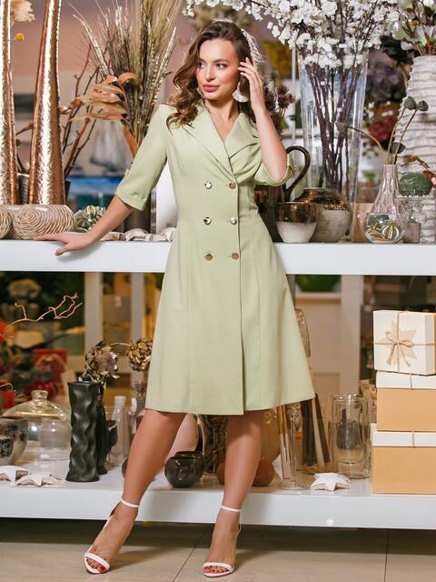 Зелёное платье-пиджак с рукавом 3/4 - 19602, фото 1 – интернет-магазин Dressa