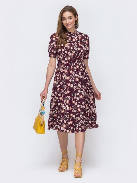 Бордовое платье с резинкой в поясе и с воротником «аскот» 48535, фото 1