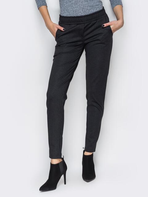 Черные брюки без застежек с карманами-обманками 10316, фото 1
