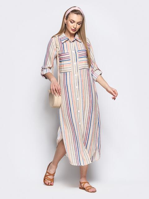 3f20701fd7598 Длинное платье-рубашка из льна в полоску бежевое - 21528, фото 1 – интернет