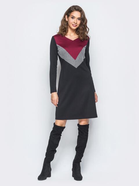 Платье черного цвета с цветными вставками на полочке - 18223, фото 1 – интернет-магазин Dressa