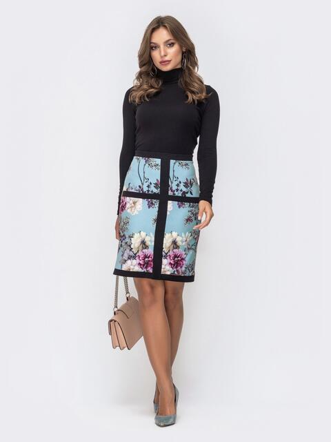 Платье-гольф черного цвета  с потайной молнией - 41357, фото 1 – интернет-магазин Dressa
