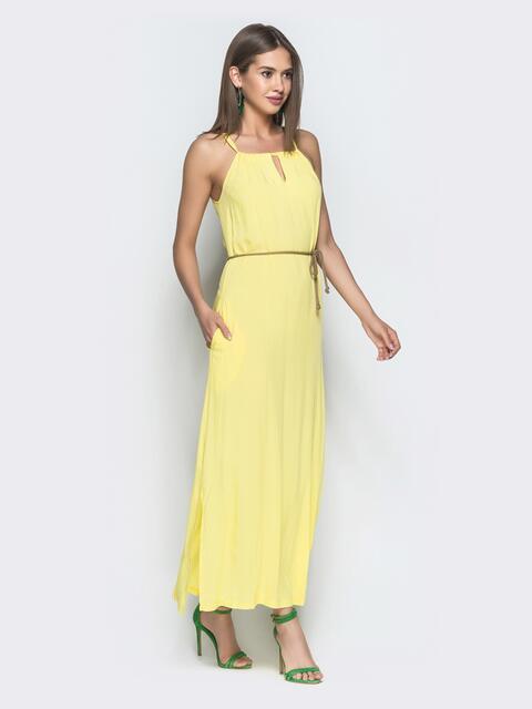 Платье-макси желтого цвета с карманами и разрезом - 39298, фото 1 – интернет-магазин Dressa