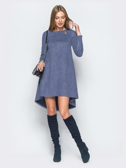 Платье-трапеция голубого цвета из эко-замши - 17346, фото 1 – интернет-магазин Dressa