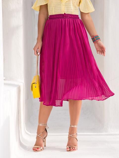 Шифоновая юбка-плиссе с резинкой по талии розовая - 39467, фото 1 – интернет-магазин Dressa