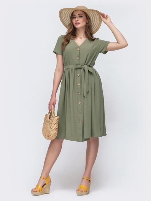 Свободное платье цвета хаки на пуговицах 48231, фото 1