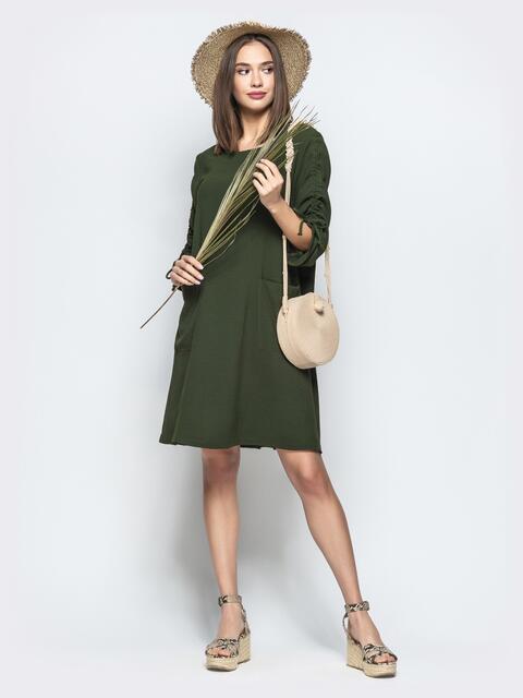 Свободное платье с регулируемыми рукавами на кулиске хаки 21531, фото 1