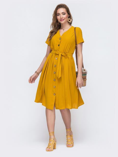 Свободное платье желтого цвета на пуговицах 48232, фото 1