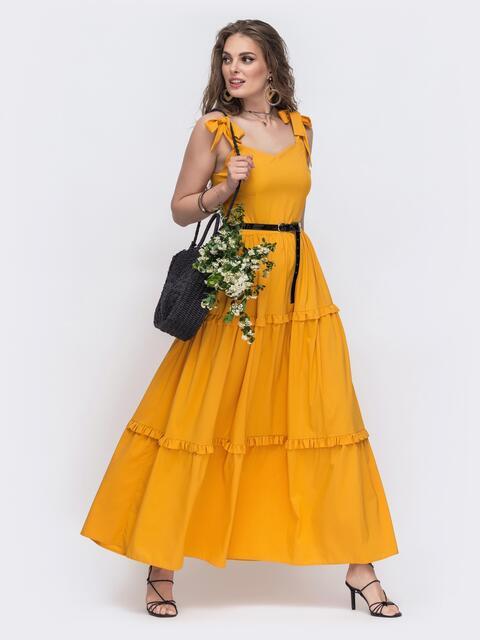 Жёлтый сарафан с рюшами на расклешенной юбке  48603, фото 1