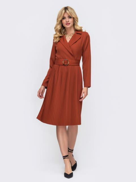Платье терракотовго цвета с лифом на запах и юбкой-плиссе 50241, фото 1