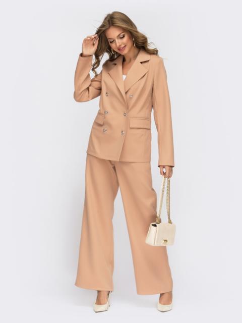 Бежевый костюм с широкими брюками и двубортным пиджаком 55132, фото 1