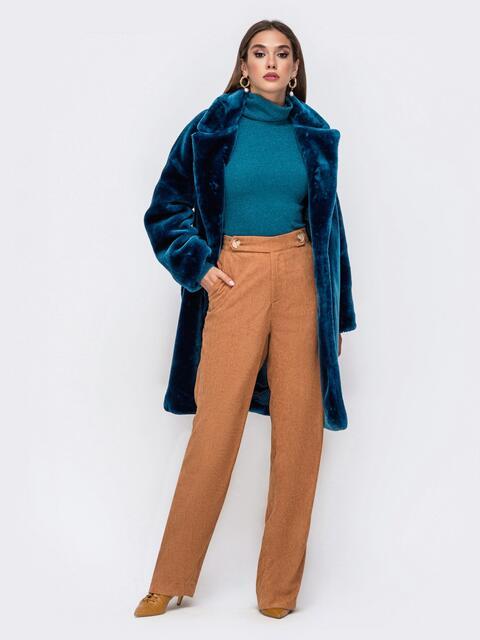 Демисезонная шуба в стиле oversize синяя - 41763, фото 1 – интернет-магазин Dressa