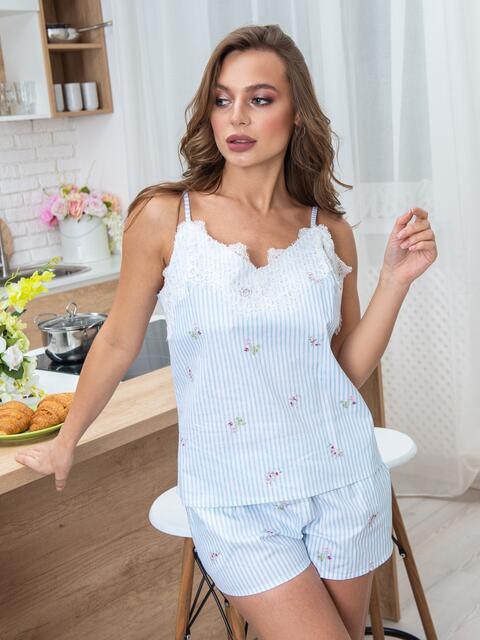 Голубая пижама с фигурным вырезом и гипюром на топе - 20698, фото 1 – интернет-магазин Dressa