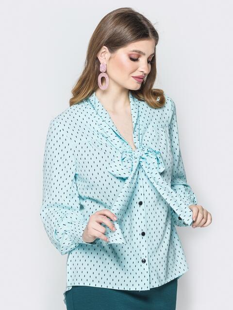 Голубая принтованная блузка с воротником аскот 19414, фото 1