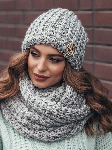 Комплект из шапки и снуда с контрастной нитью серый - 15540, фото 3 – интернет-магазин Dressa