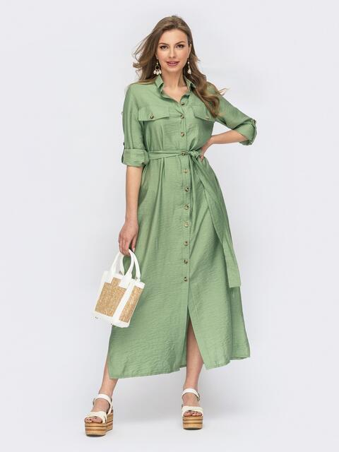 Мятное платье-рубашка с пуговицами 53812, фото 1