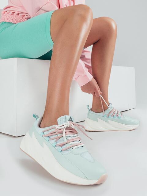 Мятные кроссовки из искусственной кожи с двойной шнуровкой 51259, фото 1