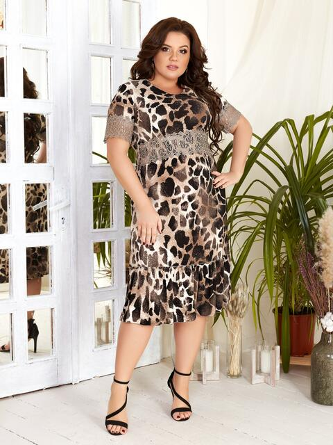 Платье батал с леопардовым принтом - 46539, фото 1 – интернет-магазин Dressa