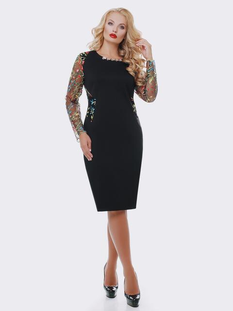 Платье черного цвета с вышивкой на рукавах из фатина - 19099, фото 1 – интернет-магазин Dressa