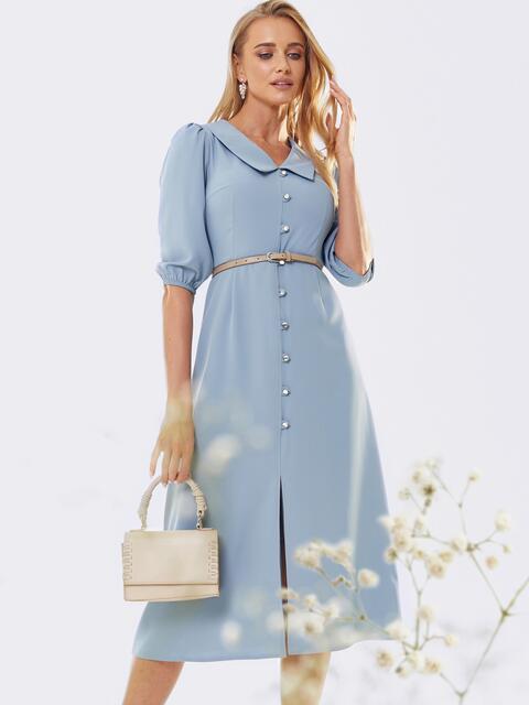 Платье с воротником «челси» и юбкой-трапецией голубое 53452, фото 1