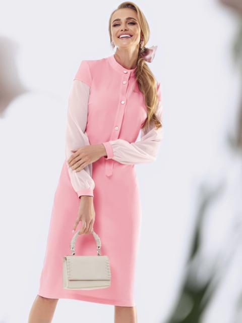 Пудровое платье приталенного кроя с рукавами из шифона 53455, фото 1
