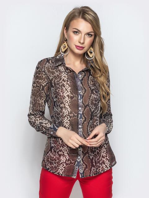 Рубашка с анималистичным принтом из шифона коричневая - 21963, фото 1 – интернет-магазин Dressa