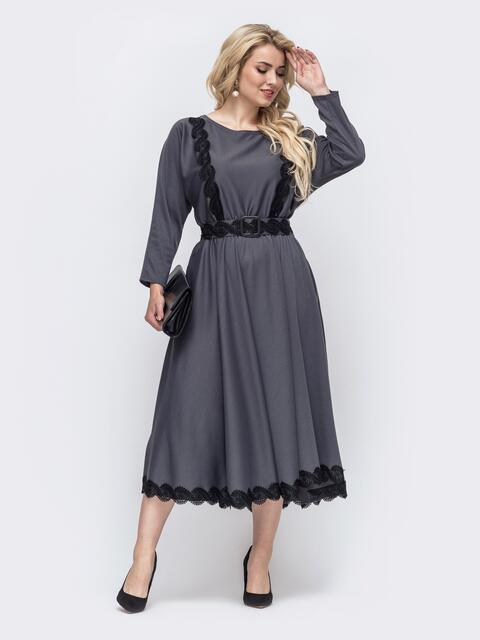 Серое платье батал с расклешенной юбкой 51010, фото 1