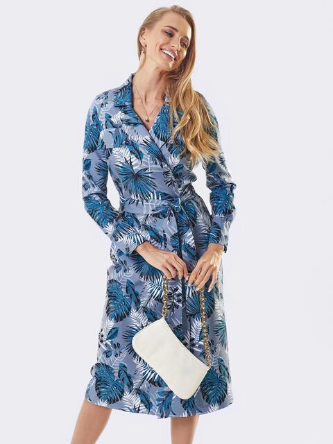 Серое платье на запах с принтом и английским воротником 53453, фото 1
