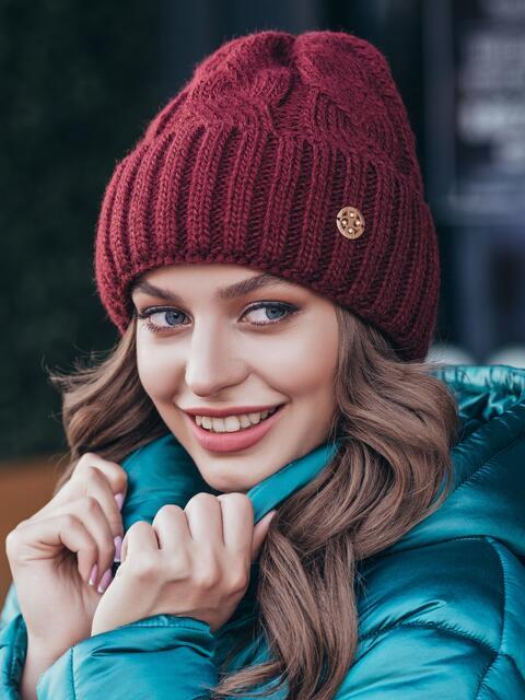 Шапка-бини бордового цвета на флисе 40533, фото 1
