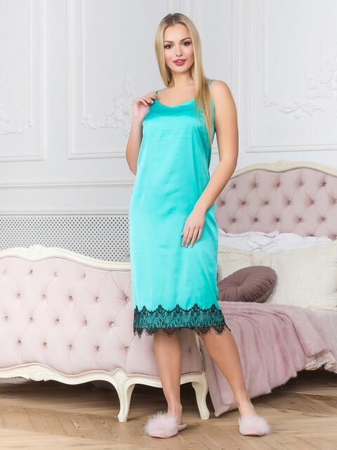 Шелковая ночная рубашка голубого цвета - 18983, фото 1 – интернет-магазин Dressa