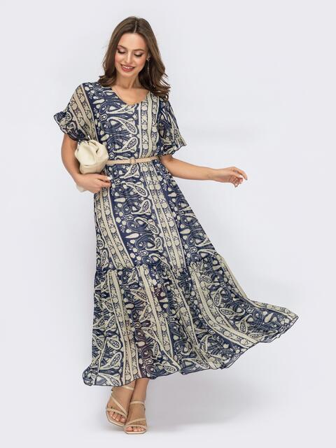 Шифоновое платье с принтом и юбкой клеш темно-синее 53449, фото 1
