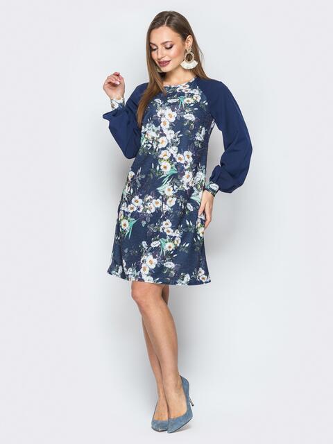 Синее платье с принтом и объемными рукавами реглан - 20036, фото 1 – интернет-магазин Dressa